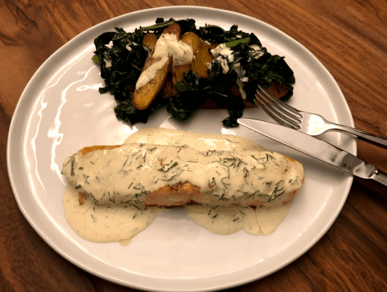 Creamy Dill Sauce Salmon- Plated