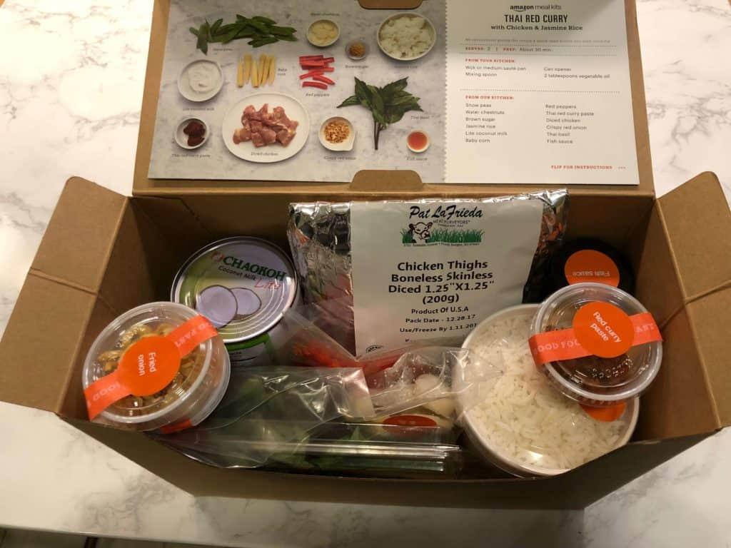 Amazon meal Kits inside box