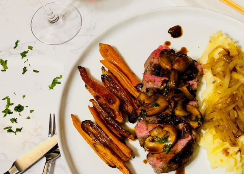 New York Strip Steak in a Mushroom Sauce