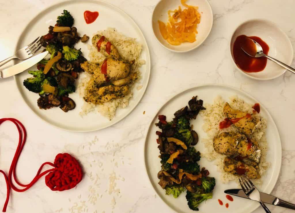 Ginger Chicken with sautéed veggies & basmati rice, daikon kimchi bu Green Chef