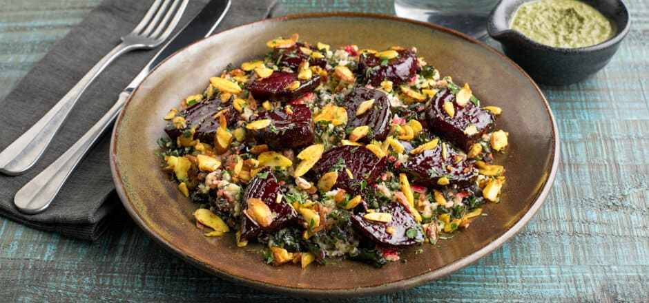 Honey-Roasted Beets with Millet with dried apricots