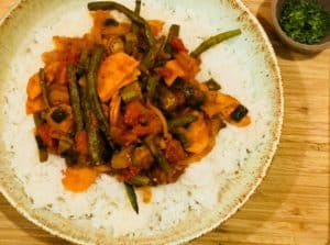 Bhindi Masala with Roasted Sweet Potatoes and Green Beans