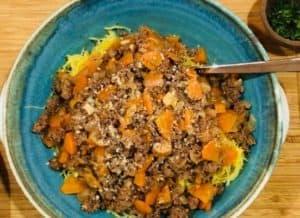 Beef Bolognese over Roasted Spaghetti Squash
