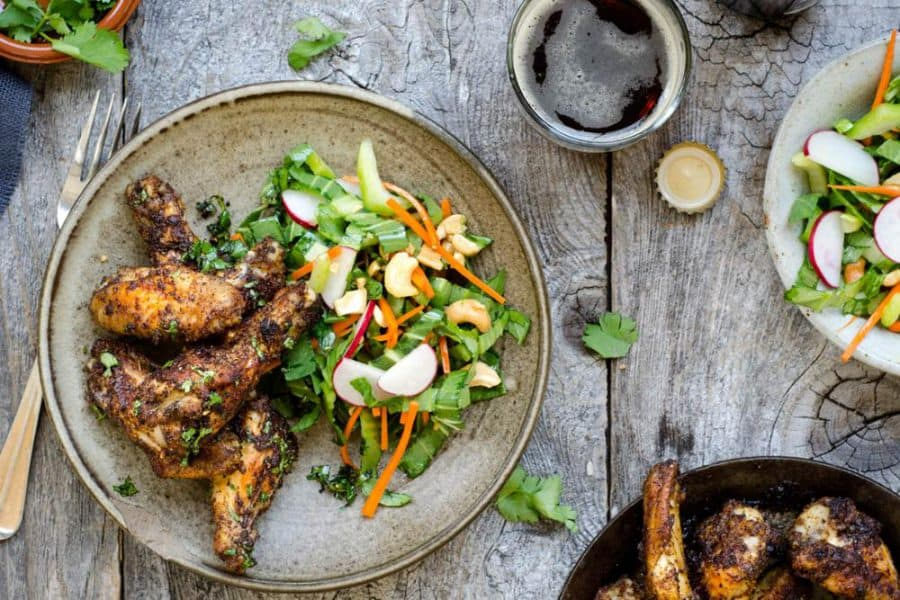 Marrakech chicken wings with sesame bok choy slaw and cashews