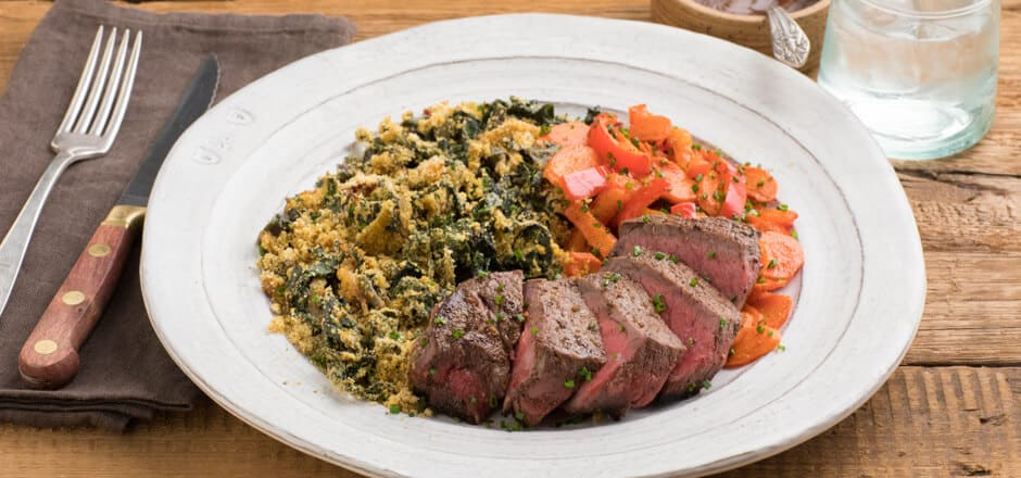 Montreal Steak with Roasted carrots & bell pepper, chard-kale gratin