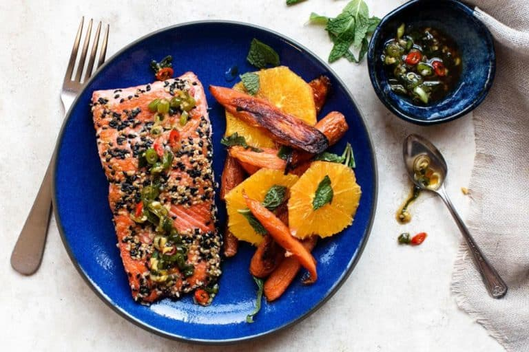 Sesame-crusted salmon with orange and roasted carrot salad