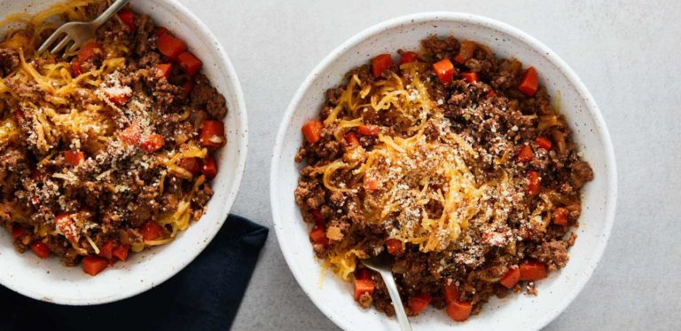 Beef Bolognese over Roasted Spaghetti Squash