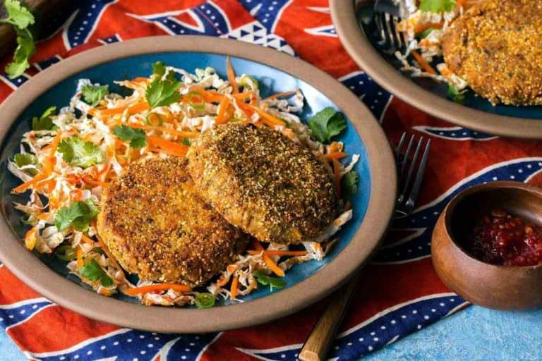 Black-eyed pea fritters with cabbage-carrot slaw