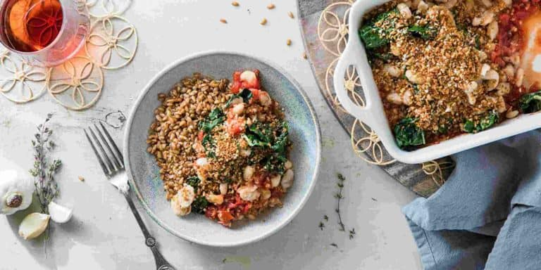 Butter Roasted Tomato Gratin with Garlic Breadcrumbs and Toasted Farro