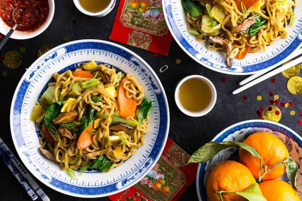 Chinese long-life noodles with stir-fried vegetables