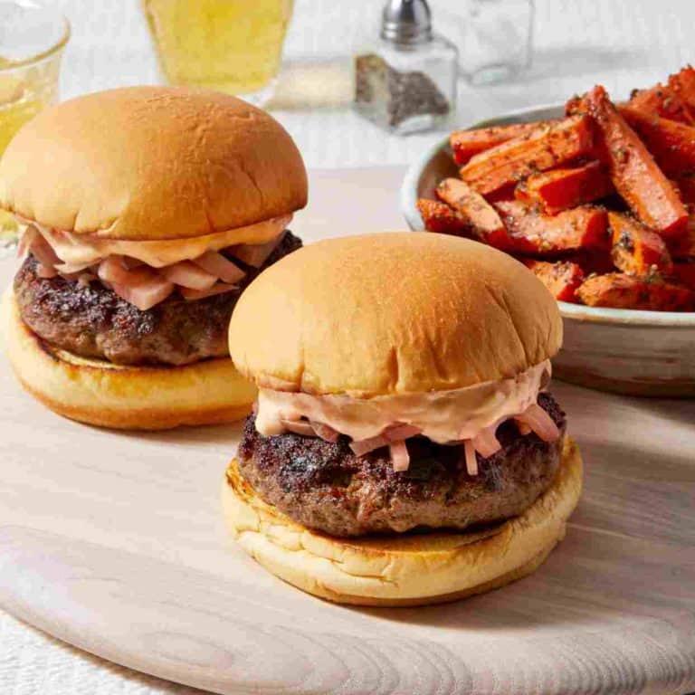 Greek Lamb & Beef Burgers with Harissa Yogurt Sauce & Carrot Fries