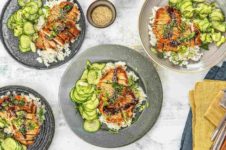 Japanese-Style Panko Pork Cutlets with Sesame Cucumber Salad and Jasmine Rice