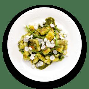 Meyer Lemon Gnocchi with Asparagus Tips & Artichoke Hearts