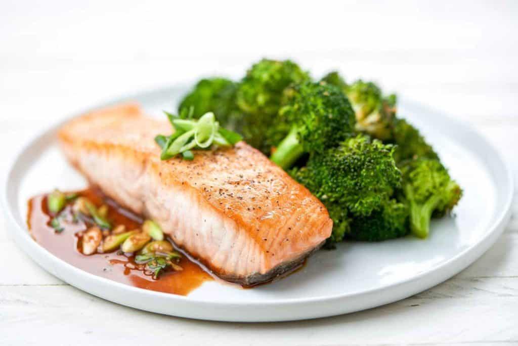 Miso-Ponzu Salmon and roasted sesame broccoli -compressed