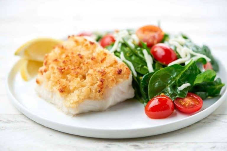 Parmesan-Crusted Cod with mozzarella-tomato spinach salad -compressed
