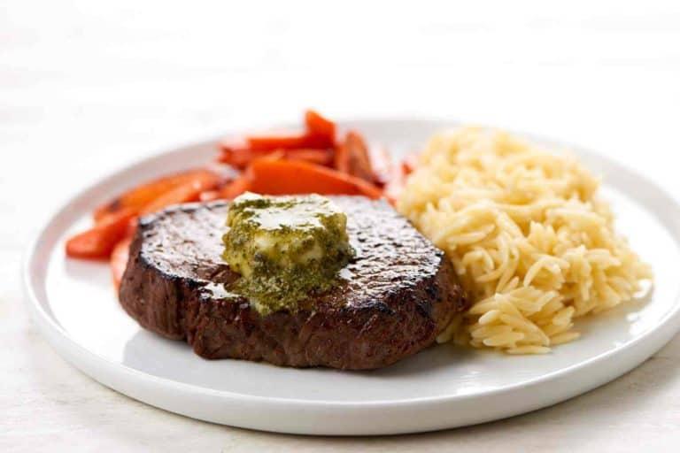 Pesto-Butter Steak with cacio e pepe orzo