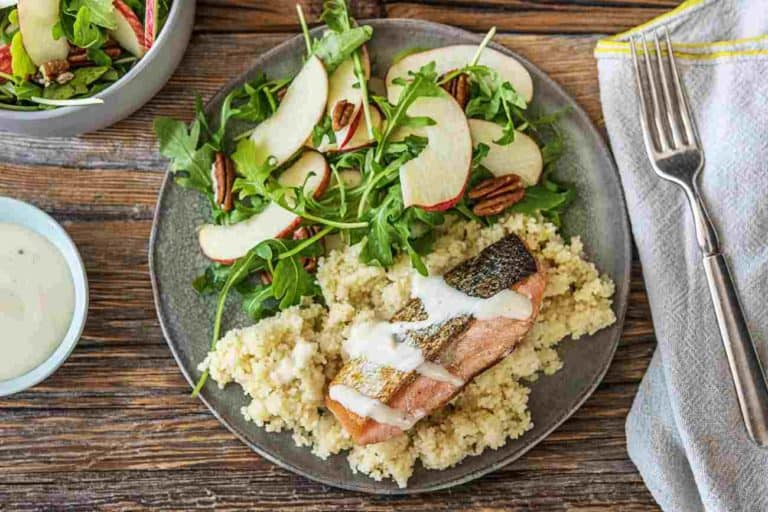 Spiced Dijon Salmon with Apple Arugula Salad and Couscous