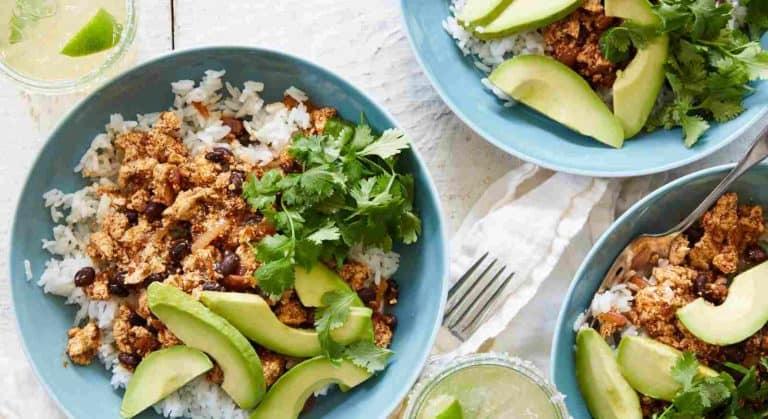 Spicy Sofritas Burrito Bowl with tofu-black bean burrito filling, jasmine rice, avocado and cilantro