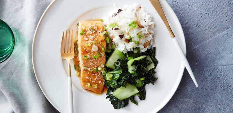 Sticky Apricot-Glazed Salmon with Garlic Rice and Kale