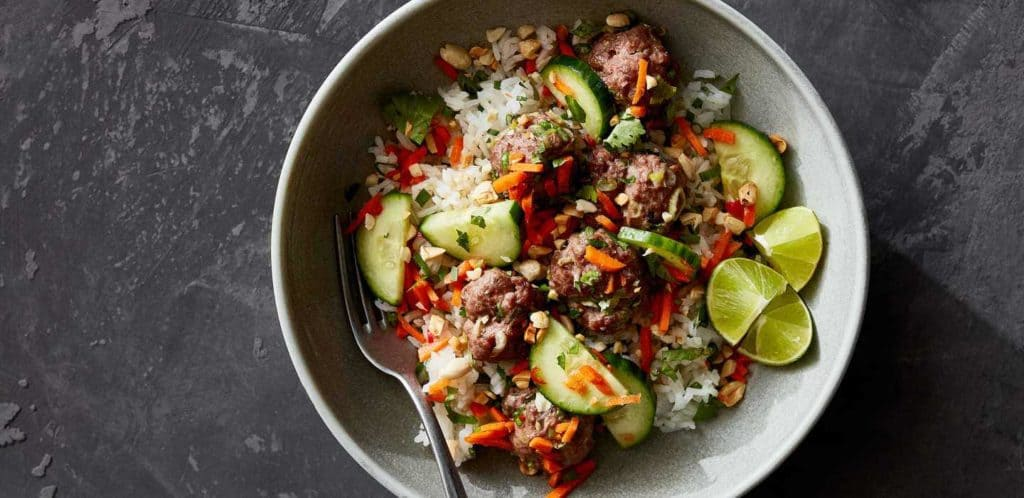 Vietnamese Beef Meatballs over Rice with Chile-Lime Dressing