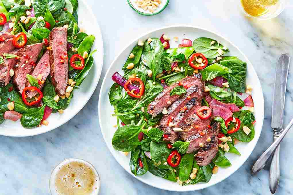 Asian Steak Salad with Charred Onions & Mint
