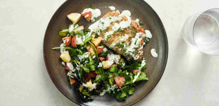 Herb-Roasted Pork Chop with Red Potatoes and Homemade Ranch-compressed