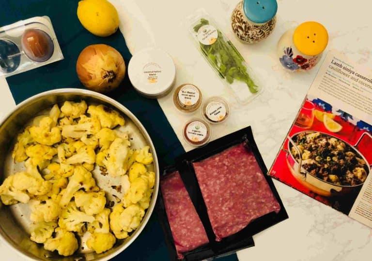 Lamb siniya casserole with cauliflower and coconut tahini by Sun Basket