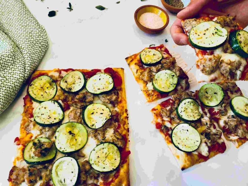 Chicken sausage pizzas