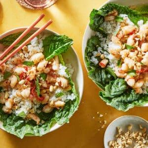 Thai Shrimp Lettuce Wrap Bowls