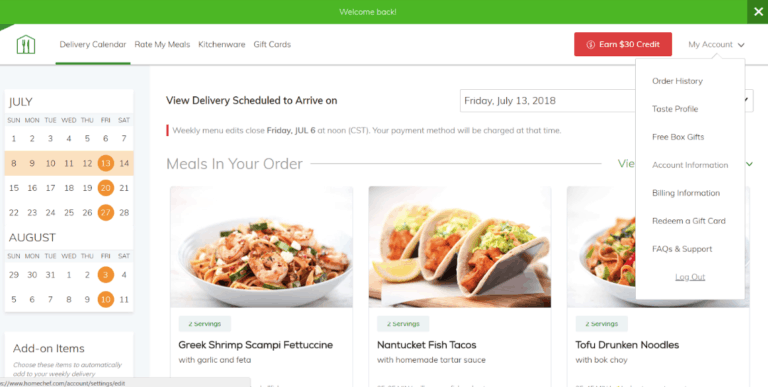 home chef delivery schedule