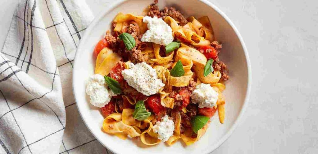 Beef and Grape Tomato Ragù over Summer Squash Noodles