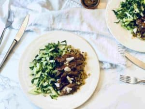 Orange Glazed Pork And Bok-Choy Slaw Over Cauliflower Rice