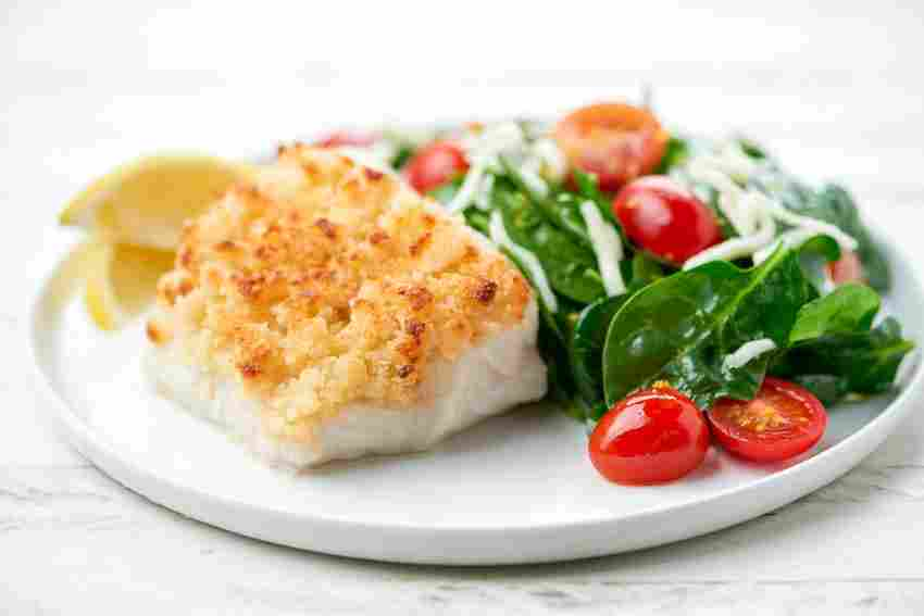 Parmesan-Crusted Cod with mozzarella-tomato spinach salad