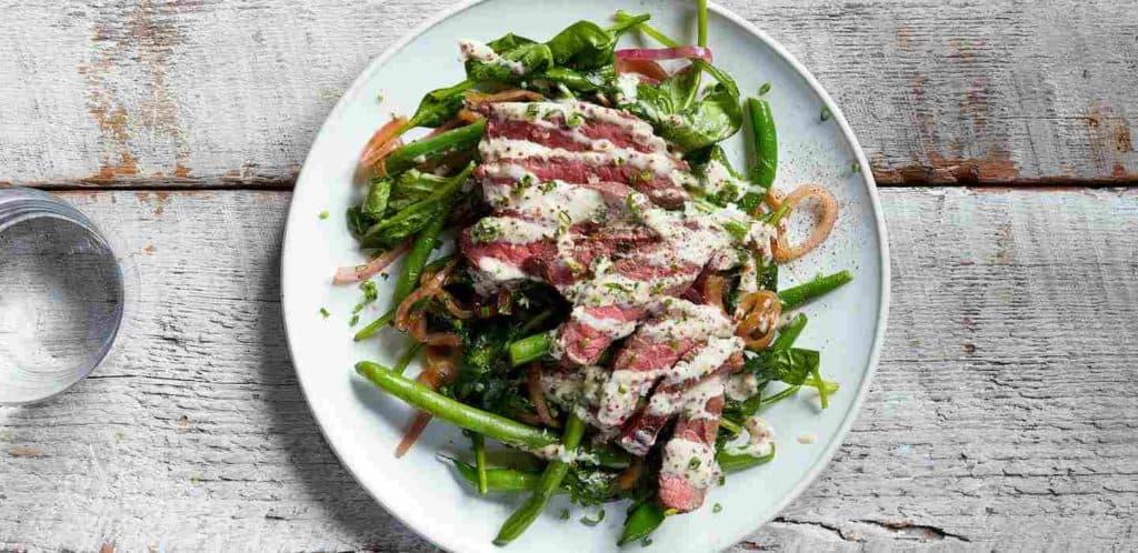 Seared Steak with Horseradish-Mustard Sauce and Green Beans