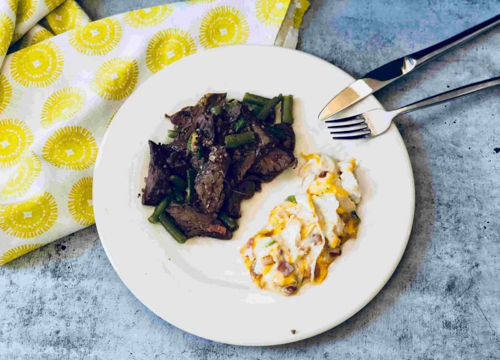 Steak with loaded cauliflower mash by Factor75