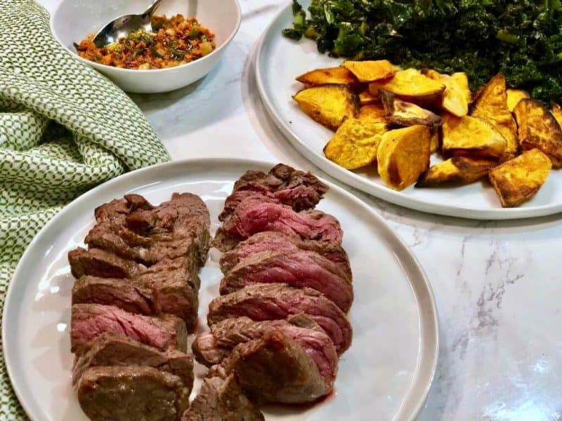 Steak and roasted sweet potato by Sun Basket
