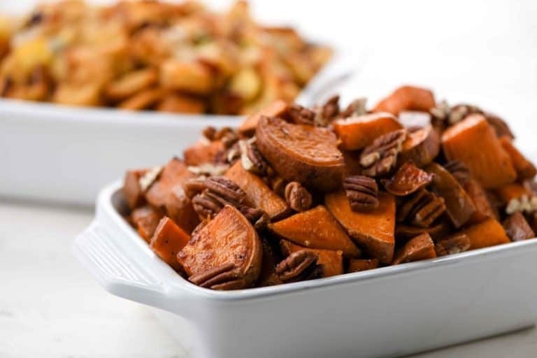 Sage and Pecan Sweet Potatoes with Apple and Cranberry Stuffing