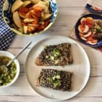 Sesame-crusted salmon with scallions by Sun Basket