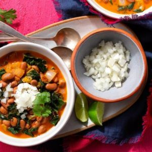 Superfast Southwestern chili with pinto beans, chiles, and kale