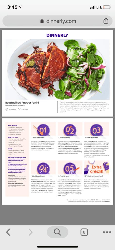 online recipe Dinnerly