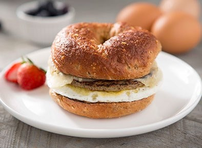 Bagel Sandwich with Egg, Turkey Sausage and Cheddar