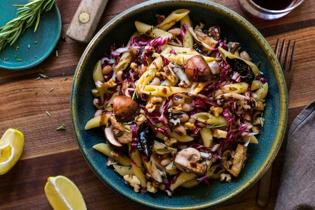 Penne with winter vegetables and balsamic fig sauce by Sun Basket