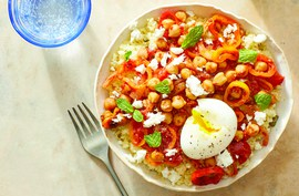 Spanish-Spiced Chickpeas with Couscous, Feta, & Soft-Boiled Eggs