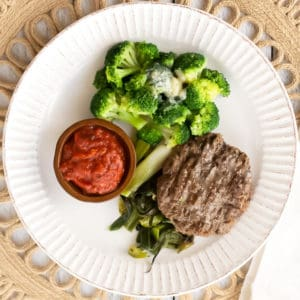 Grassfed Burger with Roasted Green Onions