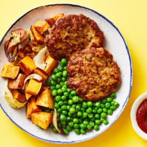 Skillet Turkey Meatloafwith Roasted Sweet Potatoes & Peas