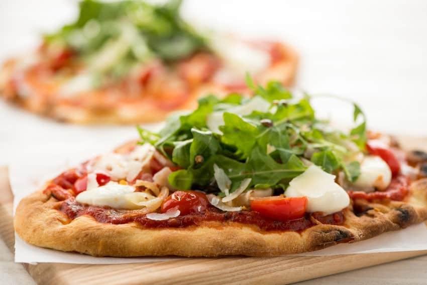 Neapolitan Pizza Margherita with an arugula salad