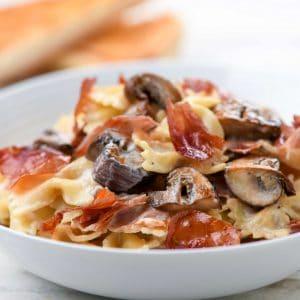 Crispy Prosciutto and Mushroom Farfalle