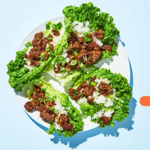 Stir-Fried Beef Lettuce Wrapswith Ginger Teriyaki Sauce & Rice