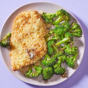 Crispy Parmesan Chickenwith Roasted Broccoli
