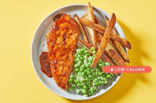Pan-Roasted BBQ Chickenwith Oven Fries & Creamed Peas